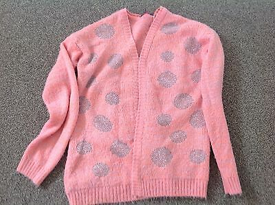 Girls Fluffy Coral Cardigan George Age 8-9
