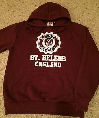 St Helens Rugby League Hooded Top - BURGANDY - Official Merchandise - Size S