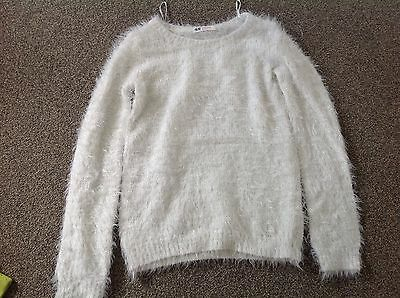 Girls Fluffy White Jumper Age 8-9 H & M