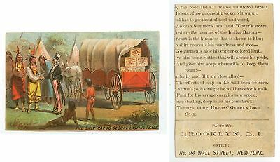 c1880s Uncle Sam giving wagon-load of Higgins Soap to the Indians trade card