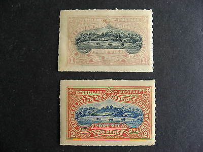 AUSTRALIAN New Hebrides Company 1p and 2p stamps MH with adhesions, check m out!
