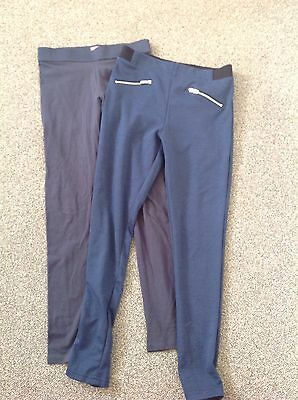Two Pairs Girls Navy Leggings Age 9-10 F & F