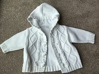 Next White Knitted Bear Cardigan Hoody 3-6 Months