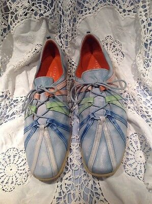 Hispanitas  Lagenlook Blue Leather Lace Up Shoes 52726  Size  5 (38).
