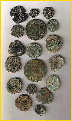 LOT(c)  18 SPANISH  ANCIENT COINS OF DIFERENT TIMES-MEDIEVAL-ROMA-COLONIAL-etc.