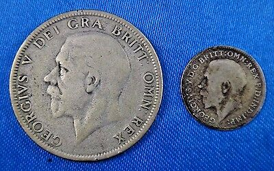 Great Britain 1921 Florin 1920 Three Pence Silver Coin Lot of 2