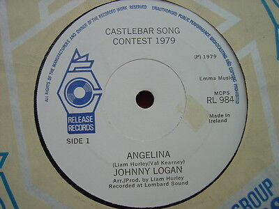 "JOHNNY LOGAN - Angelina - RARE IRISH only 7"" -  1979 - Release records"