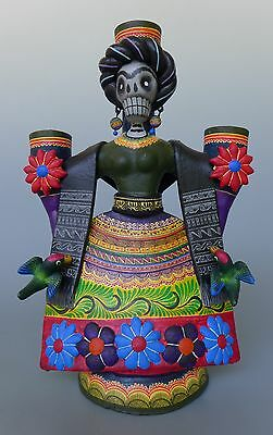 Mexican Puebla ceramic Day of Dead FRIDA candleholder by CASTILLO family 10 1/4""