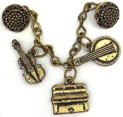 Sweet Vintage Button Sweater Guard Dangling Musical Instrument Charms