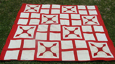 "ca 1900 cotton applique all hand quilted quilt, 80"" x 73"", no reserve *"
