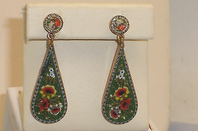 Vintage Signed Italian Micro Mosaic Elongated Dangle Screw Back Earrings