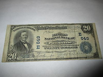 $20 1902 Pottsville Pennsylvania PA National Currency Bank Note Bill #649 Fine