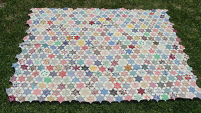 "ca 1930 cotton patchwork  Star all hand quilted quilt, 70"" x 56"" *"
