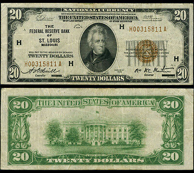 FR. 1870 H $20 1929 Federal Reserve Bank Note St. Louis Very Fine
