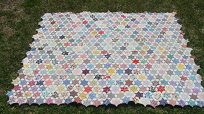 "ca 1930 cotton patchwork  Star all hand quilted quilt, 73"" x 61"" *"
