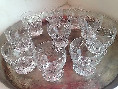 """Stunning  Set Of 10 Luxury Cut Crystal Whisky Glasses 3.5"""" Tall"""