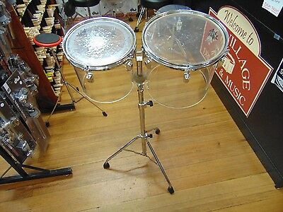 "Pair 10"" 12"" Vintage Ludwig Clear Vistalite Concert Power Toms  with Stand"