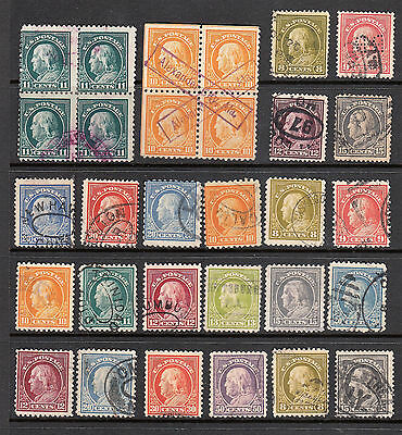 Early Us Stamps Franklin Issues 1912-1914