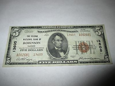 $5 1929 Robinson Illinois IL National Currency Bank Note Bill! Ch. #13605 XF!