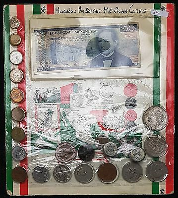 Collection of Mexican Money, Coins and Banknote, Monedas Mexicanas Vintage Set