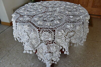 "LIM'S VINTAGE 100% COTTON ALL HAND MADE CROCHET TABLECLOTH 48""X48"" White"
