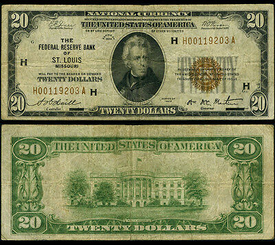 FR. 1870 H $20 1929 Federal Reserve Bank Note St. Louis Fine+