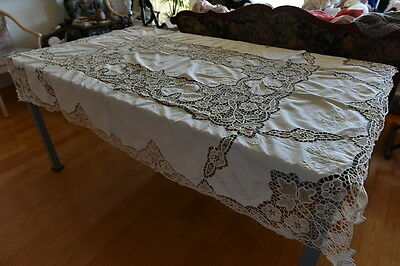 "Cotton Hand Made Battenberg Lace Tablecloth 50"" x 70"" Ecru"