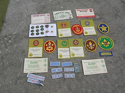 Vintage Boy Scout group of Patches, Blank award cards & Pins