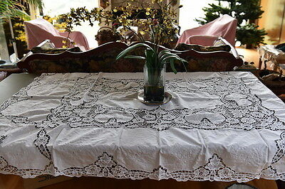 "Lim's Vintage Reticella & Embroidery Tablecloth 50""x70"""