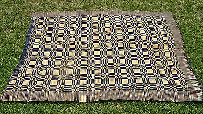 """ca 1820 2-panel blue & white Overshot coverlet, 79"""" x 65"""", no reserve *"""
