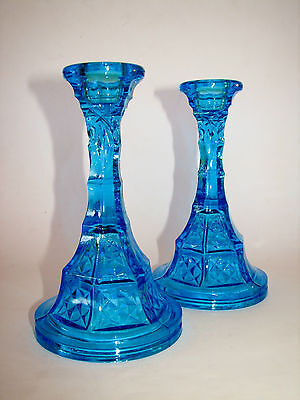 Vintage Kingfisher Blue Art Deco Era Glass Candlesticks Candle Holder Pair