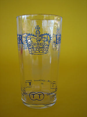 Vintage Tristrams Soft Drinks Commemerative Glass Tumbler Coronation E2R 1953
