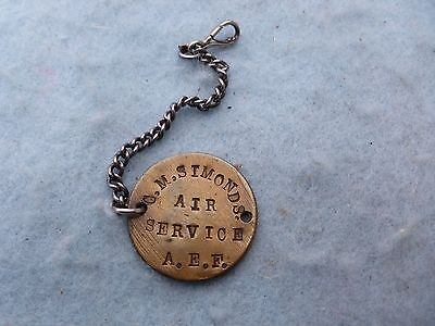 WWI US Army Air Service Dog Tag German Coin Trench Art ID Disk w Fob Named WW1