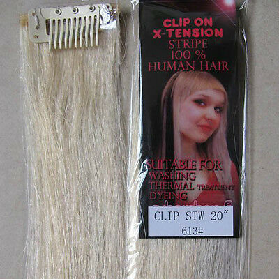 "1 Pc New 20"" One Clip In Remy Real Human Hair Extensions Straight 5g Blonde #613"