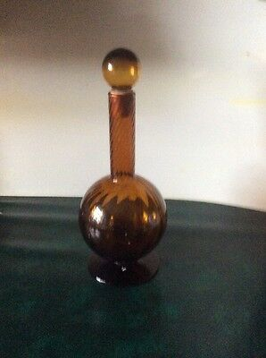 "AMBER  GLASS DECANTER  Approx 13"" TALL"