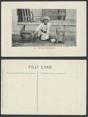Penang Old Postcard Mid-Day Refreshments Native Malay Roadside Seller Vendor 307