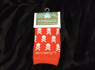 Rugged Butts Baby Toddler Leg Warmers Red/White Skulls 6-36 months Rock Metal