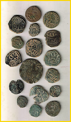 LOT(d)  17 SPANISH  ANCIENT COINS OF DIFERENT TIMES-MEDIEVAL-ROMA-COLONIAL-etc.