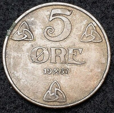 1937 Norway 5 Ore Coin ***Great Condition*** Free Combined Shipping