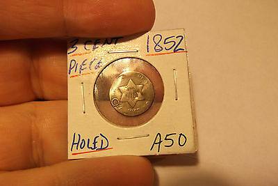 1852 Three Cent Piece Silver Holded Damage ..... A50 ...... Free Shipping
