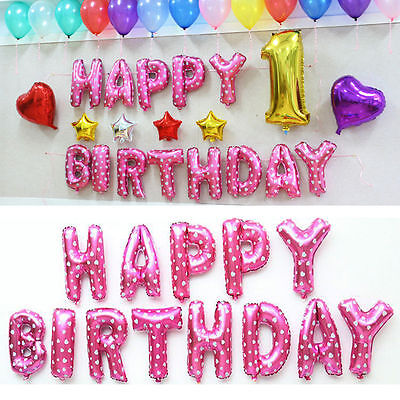 16'' HAPPY BIRTHDAY Letters 13 Pcs Foil Balloons Party Decoration Pink Color