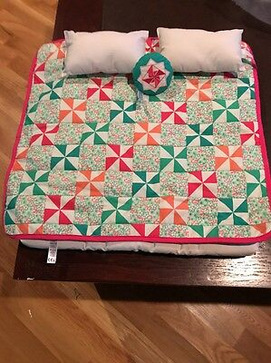 American Girl Doll Bed Spread, Mattress Pad And Three Pillows New