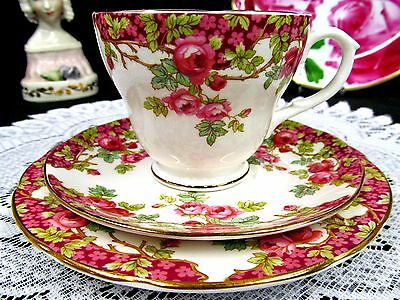 Sutherland Tea Cup And Saucer Trio Pretty Pink Roses Pattern Teacup