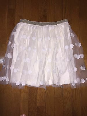 Adorable White Johnnie B Boden Skirt, Size 15-16 Lace Dot Layer