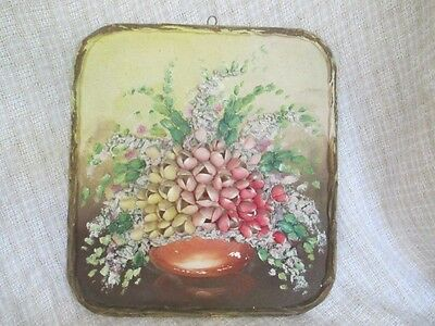 Antique Shell Art - Large Floral Bouquet Wall Plaque   ro