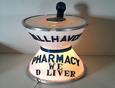 "Vintage Lighted Mortar & Pestle Lighted Sign ~ Wallhaven Pharmacy ~ 9.5"" Tall"