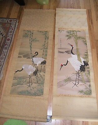 2 Japanese Scrolls Egrets Hand Painted