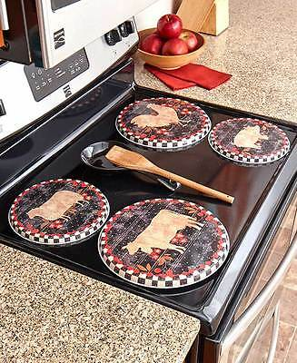 Farm To Table Stove Burner Kovers / Covers ~S/4~ Pig - Cow - Rooster ~Sheep ~Nip