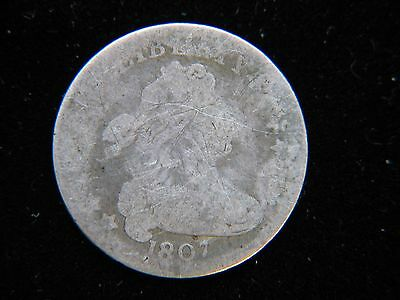 1807 10C Draped Bust Dime Rare Key Date Nice Detail Scratched Rare Type Coin