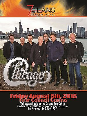 "CHICAGO ""HEART & SOUL TOUR"" 2016 OKLAHOMA CONCERT POSTER-Band By Chicago Skyline"